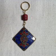 Lapis lazuli and coral Indian pendant keyring or handbag charm