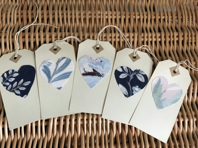 Set of 5 Vintage gift tags Laura Ashley fabric