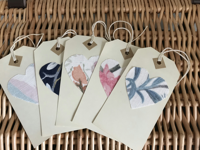 Set of 5 vintage floral gift tags Laura Ashley fabric