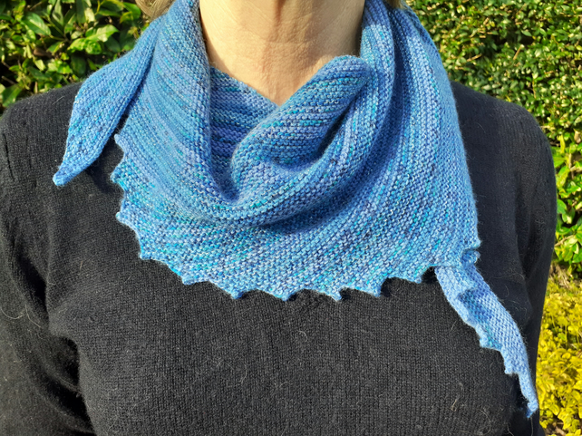 Standout Blue Handknitted Scarf