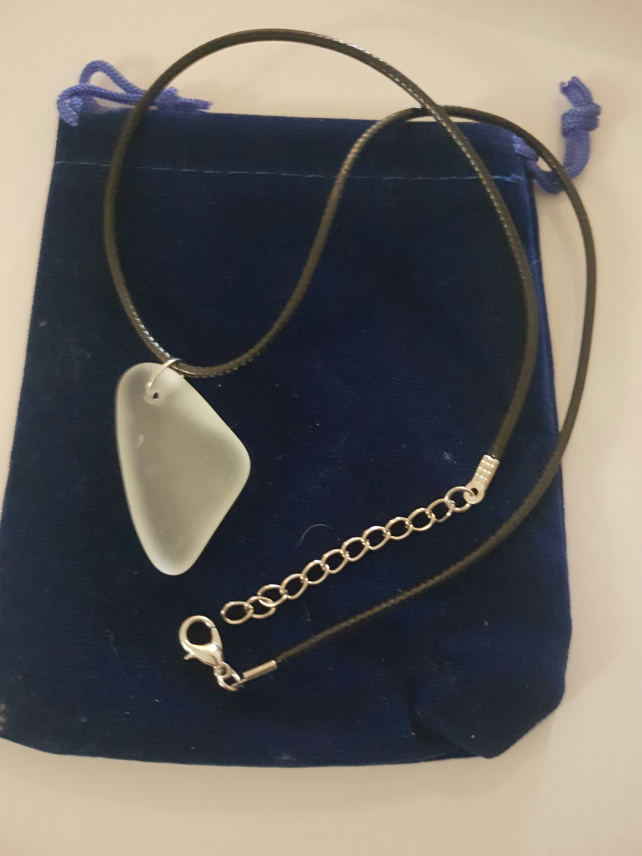 Welsh Seaglass on leather necklace.  Opaque  Glass No 25