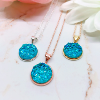 Lake Blue Druzy Pendant - Sterling Silver, Rose Gold & Gold Vermeil