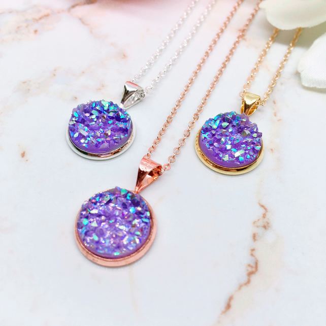 Purple Druzy Pendant - Sterling Silver, Rose Gold & Gold Vermeil