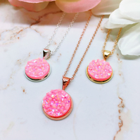 Pink Druzy Pendant - Sterling Silver, Rose Gold & Gold Vermeil