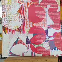 Vibrant pink abstract collage original