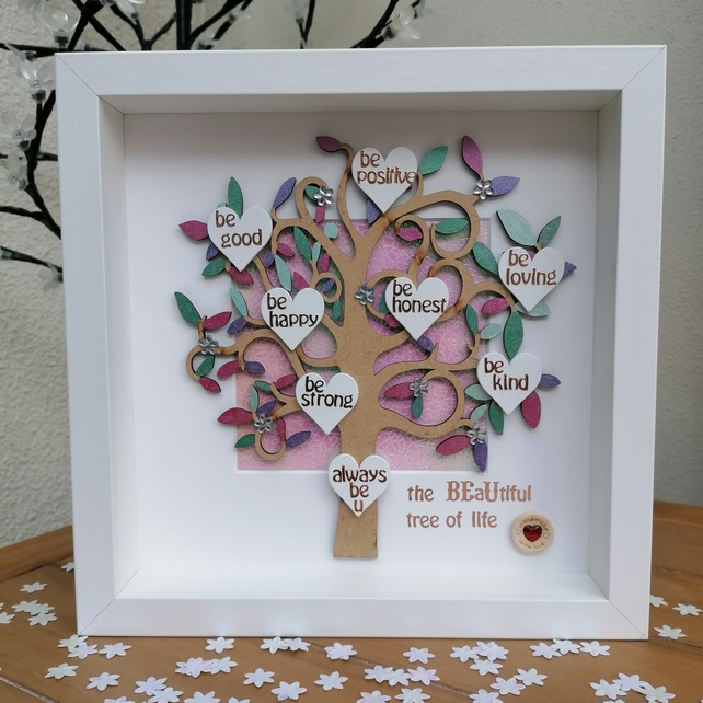 Personalised gift, inspirational gift, tree with hearts, gift for her.