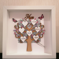 Personalised gift, family tree with hearts, mum gift, mother's day.