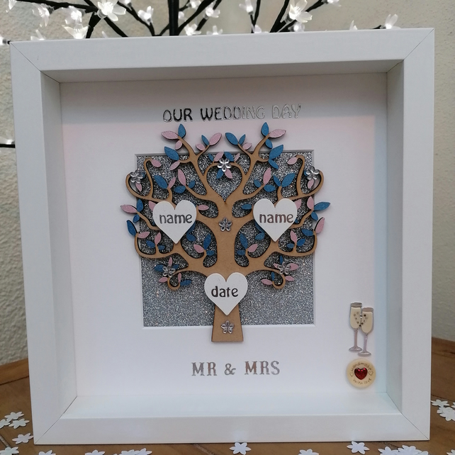 Personalised handmade wedding day Anniversary Mr /& Mrs 3D gift frame family tree