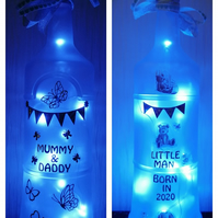 Light up bottle, new baby gift, baby shower, new parents gift, born in 2020