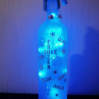 Bottle with lights, frozen theme, light up frozen theme bottle, pretty lamp