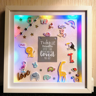 Light up nursery picture, nursery decoration, new baby gift, christening gift