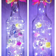 Mothers day gift, light up bottle, bottle with lights, mum birthday gift