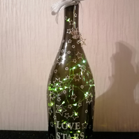 Light up bottle, bottle with lights, star gift, table decoration, party decor
