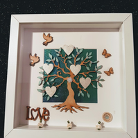 Family tree, family tree frame, tree with hearts, personalised gifts, family