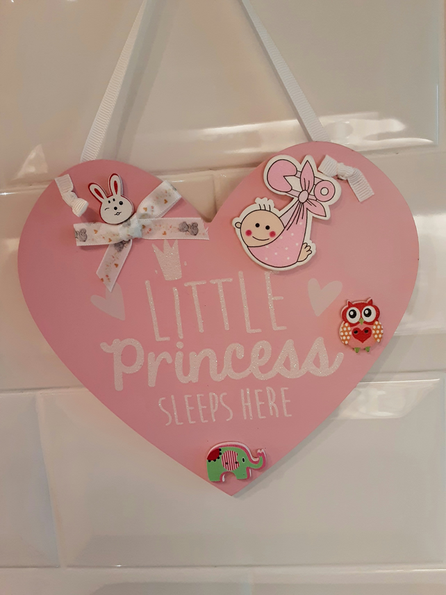 Princess door plaque, nursery door hanger, baby girl gift, girls plaque.