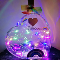 Light up heart, glass heart with lights, rainbow lamp, rainbow gift.