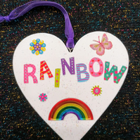 Rainbow door hanger, heart plaque, keepsake gift, rainbow decoration.