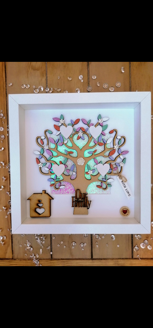 3d family tree, family tree with hearts, personalised family tree