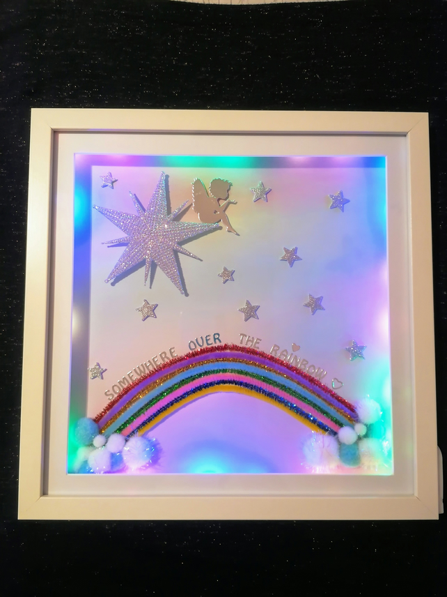 Led light up picture, over the rainbow picture, rainbow gift.