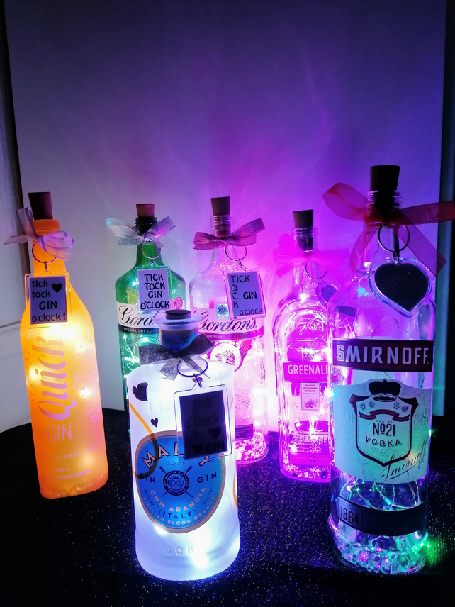 Light up gin bottle, bottle with lights, light up vodka bottle.
