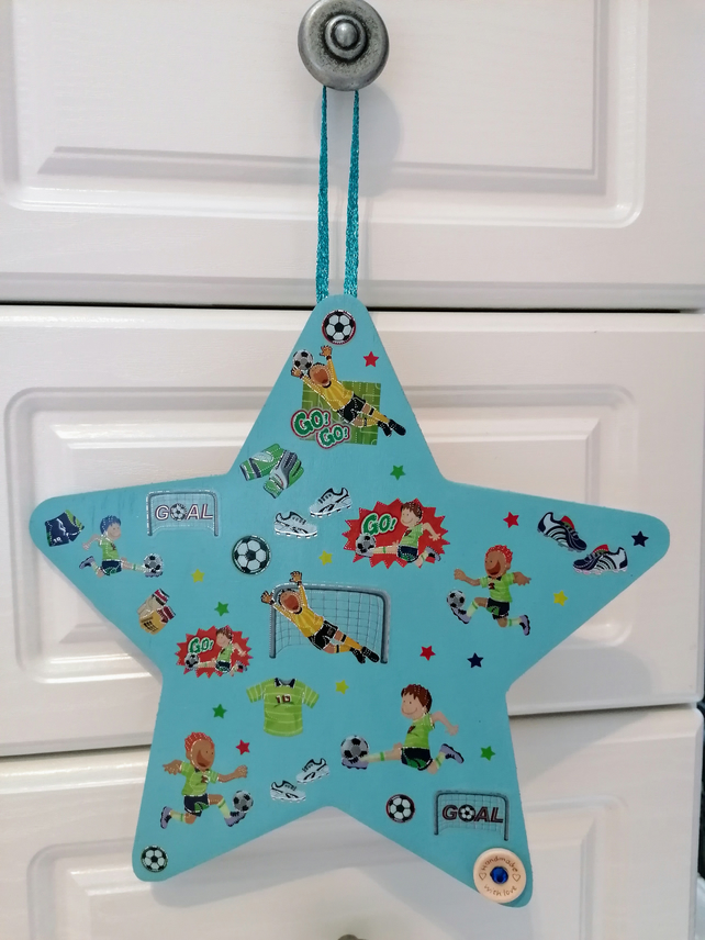 Door hanger, children's football theme door hanger, football gift for children.