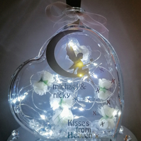 Light up heart, memorial gift, keepsake memorial gift, kisses from Heaven.