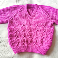 Child's Chunky Jumper with A Lacy Pattern, Gift Ideas for Children