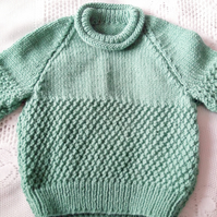 Child's Chunky Jumper with A Roll Neck in Double Moss Stitch Pattern