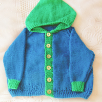 Two Tone Hand Knitted Hooded Baby Jacket, Baby Shower Gift, Baby Gift
