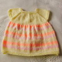 Simple Classic Hand Knitted Baby Dress, New Baby Gift, Baby Shower Gift