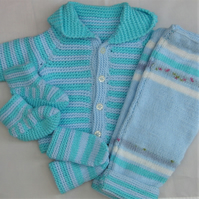 Baby's Pram Set With Hooded Jacket Trousers Mittens and Boots, New Baby Gift