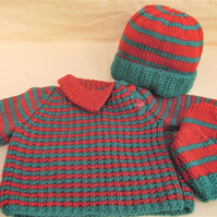 3 Piece Baby's Jumper Set Comprising a Jumper Hat and Mittens, New Baby Gift