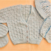 4 Piece Baby's Basketweave Cardigan Set, Gift Idea for Babies