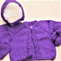 Baby Girls Hand Knitted 4 Piece Cardigan Set, Baby's Clothes Set, New Baby Gifts