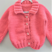 Girl's Cardigan Hand Knitted in Super Chunky Yarn, Children's Knitted Jacket