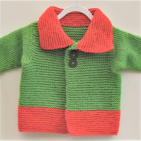 Baby's Red and Green Knitted Coat with Collar, Baby's Pram Coat, New Baby Gift