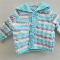 Hand Knitted Baby Hooded Jacket, Baby Shower Gift, New Baby Gift