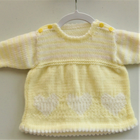 Hand Knitted Lemon Dress with White Heart Decoration, Baby Girl Dress