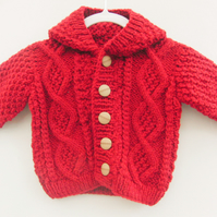 Baby's Hand Knitted Hooded Cabled Jacket, Baby Shower Gift, New Baby Gift
