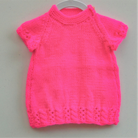 Shocking Pink Baby's Knitted Dress, New Baby Gift, Baby Shower Gift
