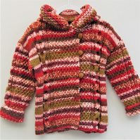 Hand Knitted Childs Duffle Coat, Winter Coat, Birthday Gift,Gift Ideas for Kids