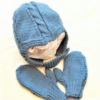 Baby's Cabled Helmet & Mittens Set, Baby Shower Gift, Gift Ideas for Babies