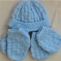 Basket Weave 3 Piece Hat Set for a Premature Baby, New Baby Gift
