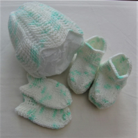 Baby's Knitted Pixie 3 Piece Hat Set, Baby Clothes, Baby Shower Gift