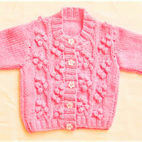Cherry Pattern Baby's Cardigan, Baby Shower Gift, Christening Gift