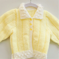 Hand Knitted Yellow and White Baby Cardigan With a Bobble Pattern, Baby Gift