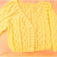 Girl's Knitted Cabled Cardigan, Aran Cardigan, Gift Ideas for Girls