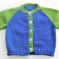 Baby's Hand Knitted Two Tone Cardigan, Knitted Cardigan, Gift Ideas for Children