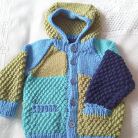 Child's Multi Coloured Hooded Jacket, Chunky Hooded Jacket, Birthday Gift