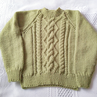 Hand Knitted Child's Cabled Crew Neck Jumper, Children's Jumper